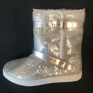 New Circo Silver Sequined Fur Lining booties 5